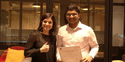 Winner Divyansh Jain with Tamara Yahfoufi from Leysin American School